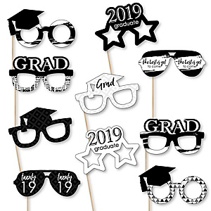 Black and White Grad Glasses - Best is Yet to Come - Black and White 2019 Paper Card Stock Graduation Party Photo Booth Props Kit - 10 Count