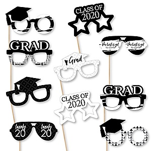 Black and White Grad Glasses - Best is Yet to Come - Black and White 2020 Paper Card Stock Graduation Party Photo Booth Props Kit - 10 Count