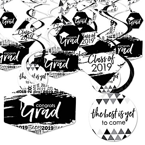 Black and White Grad - Best is Yet to Come - 2019 Black and White Graduation Party Hanging Decor - Party Decoration Swirls - Set of 40