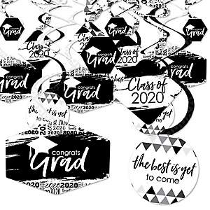 Black and White Grad - Best is Yet to Come - 2020 Black and White Graduation Party Hanging Decor - Party Decoration Swirls - Set of 40