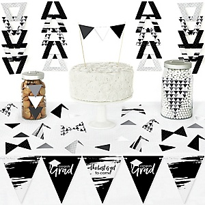 Black and White Grad - Best is Yet to Come - DIY Pennant Banner Decorations - Black and White Graduation Party Triangle Kit - 99 Pieces
