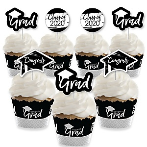 Black and White Grad - Best is Yet to Come - Cupcake Decoration - 2019 Black and White Graduation Party Cupcake Wrappers and Treat Picks Kit - Set of 24