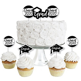Black and White Grad - Best is Yet to Come - Dessert Cupcake Toppers - Black and White 2020 Graduation Party Clear Treat Picks - Set of 24