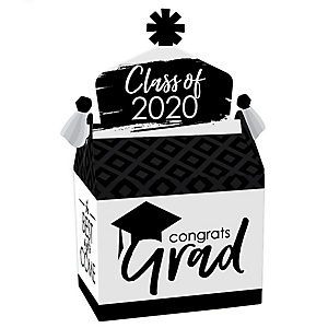 Black and White Grad - Best is Yet to Come - Treat Box Party Favors - 2020 Black and White Graduation Party Goodie Gable Boxes - Set of 12