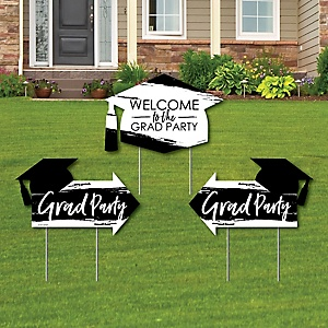 Black and White Grad - Best is Yet to Come - 2 Black and White Graduation Party Arrows and 1 Welcome / Thank You Lawn Sign - Double Sided Grad Yard Sign Set - 3 Pieces