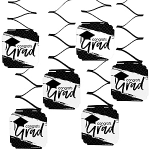 Black and White Grad - Best is Yet to Come - Graduation Party Hanging Decorations - 6 ct