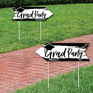 Black and White Grad - Best is Yet to Come - Graduation Party Sign Arrow - Double Sided Directional Yard Signs - Set of 2