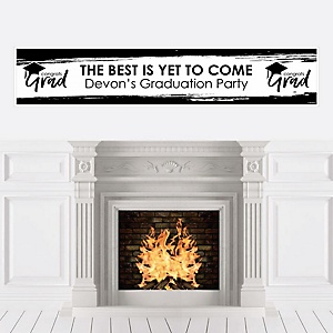 Black and White Grad - Best is Yet to Come - Personalized Black and White Graduation Party Banner