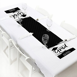Black and White Grad - Best is Yet to Come  - Personalized Graduation Party Petite Table Runner