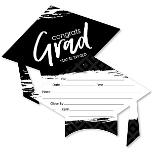 Black and White Grad - Best is Yet to Come - Shaped Fill-In Invitations - Graduation Party Invitation Cards with Envelopes - Set of 12