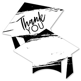 Black and White Grad - Best is Yet to Come - Shaped Thank You Cards - Black and White Graduation Party Thank You Note Cards with Envelopes - Set of 12
