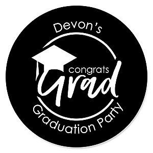 Black and White Grad - Best is Yet to Come - Personalized Graduation Sticker Labels - 24 ct
