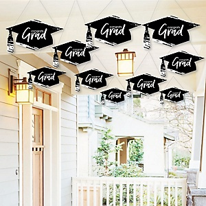 Hanging Black and White Grad - Best is Yet to Come - Outdoor Graduation Party Hanging Porch & Tree Yard Decorations - 10 Pieces