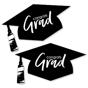 Black and White Grad - Best is Yet to Come - Graduation Hat Decorations DIY Large Black and White Graduation Party Essentials - 20 Count