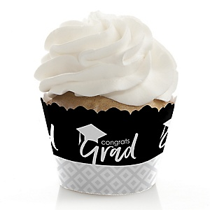 Black and White Grad - Best is Yet to Come - Graduation Decorations - Party Cupcake Wrappers - Set of 12