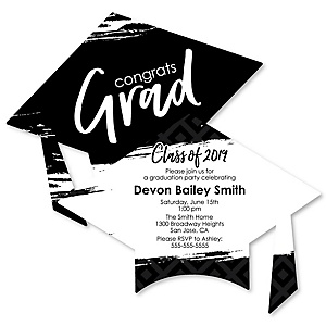 Black and White Grad - Best is Yet to Come - Personalized 2019 Graduation Invitations - Set of 12