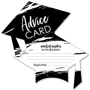 Black and White Grad - Best is Yet to Come - Black and White Grad Cap Wish Card Graduation Party Activities - Shaped Advice Cards Games - Set of 20