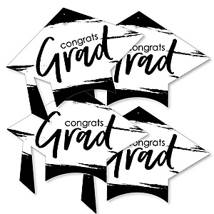 Black and White Grad - Best is Yet to Come - Grad Cap Decorations DIY Black and White Graduation Party Essentials - Set of 20