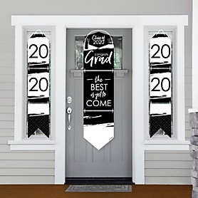 Black and White Grad - Best is Yet to Come - Hanging Porch Front Door Signs - 2020 Black and White Graduation Party Banner Decoration Kit - Outdoor Door Decor