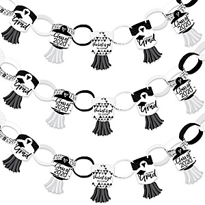 Black and White Grad - Best is Yet to Come - 90 Chain Links and 30 Paper Tassels Decoration Kit - 2020 Black and White Graduation Party Paper Chains Garland - 21 feet