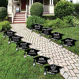 Black and White Grad - Best is Yet to Come - Grad Cap Lawn Decorations - Outdoor Black and White Graduation Party Yard Decorations - 10 Piece