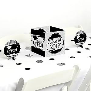 Black and White Grad - Best is Yet to Come - 2019 Graduation Party Centerpiece & Table Decoration Kit