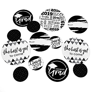 Black and White Grad - Best is Yet to Come - 2019 Graduation Party Giant Circle Confetti - Black and White Grad Party Decorations - Large Confetti 27 Count