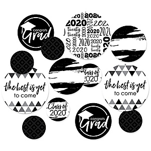 Black and White Grad - Best is Yet to Come - 2020 Graduation Party Giant Circle Confetti - Black and White Grad Party Decorations - Large Confetti 27 Count