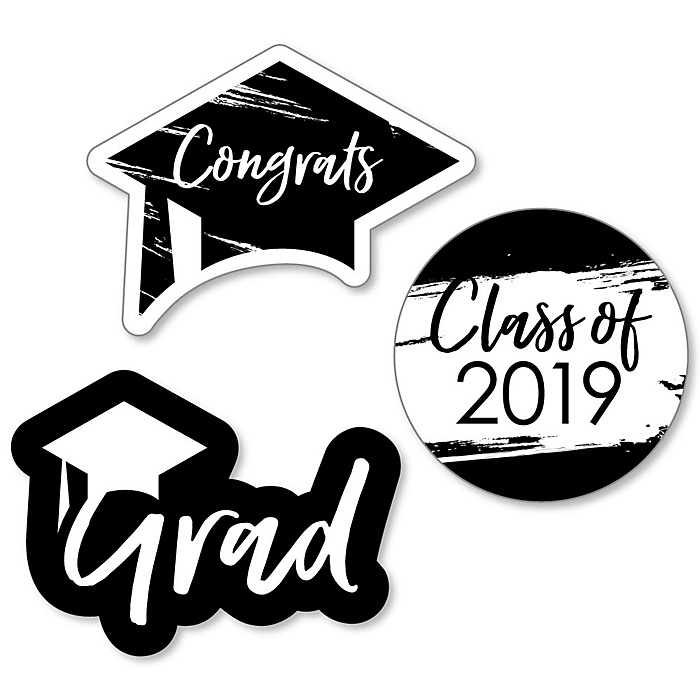 Black and White Grad - Best is Yet to Come - DIY Shaped 2019 Graduation Party Paper Cut-Outs - 24 ct