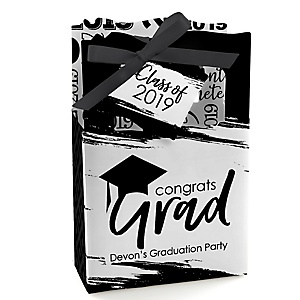 Black and White Grad - Best is Yet to Come - Personalized 2019 Graduation Favor Boxes - Set of 12