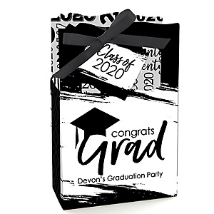 Black and White Grad - Best is Yet to Come - Personalized 2020 Graduation Favor Boxes - Set of 12