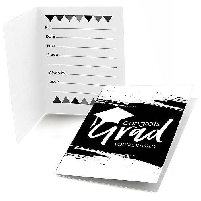 Black and White Grad - Best is Yet to Come - Graduation Party Fill In Invitations - 8 ct