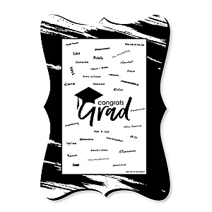 Black and White Grad - Best is Yet to Come - Unique Alternative Guest Book - Graduation Party Signature Mat
