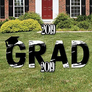 GRAD - Black and White Grad - Best is Yet to Come - Yard Sign Outdoor Lawn Decorations - Black and White 2019 Graduation Party Yard Signs