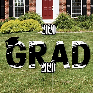 GRAD - Black and White Grad - Best is Yet to Come - Yard Sign Outdoor Lawn Decorations - Black and White 2020 Graduation Party Yard Signs