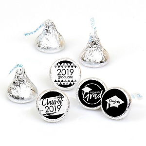 Black and White Grad - Best is Yet to Come - Round Candy Labels 2019 Graduation Party Favors - Fits Hershey's Kisses 108 ct