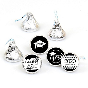 Black and White Grad - Best is Yet to Come - Round Candy Labels 2020 Graduation Party Favors - Fits Hershey's Kisses 108 ct