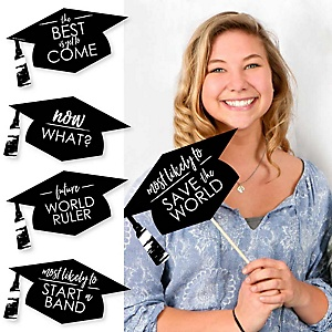 Hilarious Black and White Grad - Best is Yet to Come - 20 Piece Black and White Graduation Party Photo Booth Props Kit