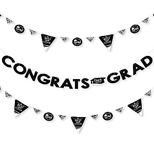 Black and White Grad - Best is Yet to Come - 2019 Black and White Graduation Party Letter Banner Decoration - 36 Banner Cutouts and Congrats Grad Banner Letters