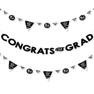 Black and White Grad - Best is Yet to Come - 2020 Black and White Graduation Party Letter Banner Decoration - 36 Banner Cutouts and Congrats Grad Banner Letters