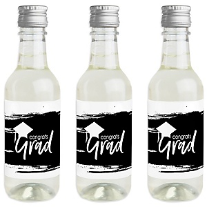 Black and White Grad - Best is Yet to Come - Mini Wine and Champagne Bottle Label Stickers - Black and White Graduation Party Favor Gift - For Women and Men - Set of 16
