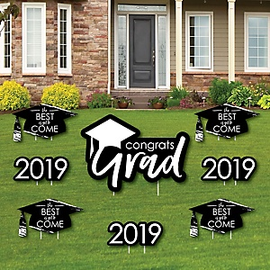 Black and White Grad - Best is Yet to Come - Yard Sign & Outdoor Lawn Decorations – 2019 Graduation Party Yard Signs - Set of 8