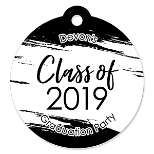 Black and White Grad - Best is Yet to Come - Round Personalized 2019 Graduation Party Die-Cut Tags - 20 ct
