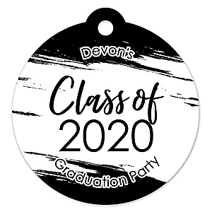 Black and White Grad - Best is Yet to Come - Round Personalized 2020 Graduation Party Die-Cut Tags - 20 ct