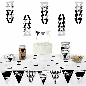 Black and White Grad - Best is Yet to Come -  Triangle Graduation Party Decoration Kit - 72 Piece