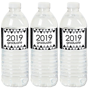 Black and White Grad - Best is Yet to Come - 2019 Black and White Graduation Party Water Bottle Sticker Labels - Set of 20