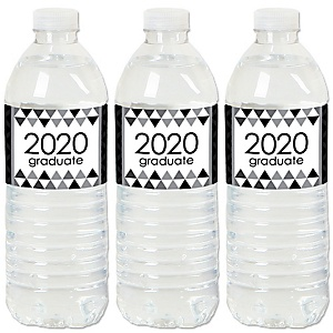 Black and White Grad - Best is Yet to Come - 2020 Black and White Graduation Party Water Bottle Sticker Labels - Set of 20