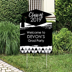 Black and White Grad - Best is Yet to Come - Party Decorations - 2019 Graduation Party Personalized Welcome Yard Sign