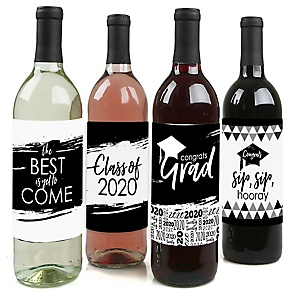 Black and White Grad - Best is Yet to Come - 2020 Graduation Decorations for Women and Men - Wine Bottle Label Stickers - Set of 4