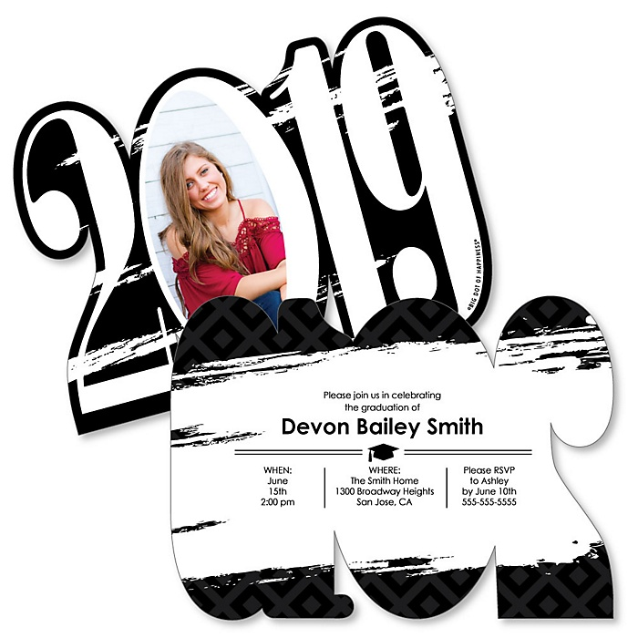 Black and White Grad - Best is Yet to Come - Personalized 2019 Photo Graduation Announcement - Set of 12